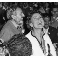 A jubilant Pedro and Miriam after his release from prison, 1956