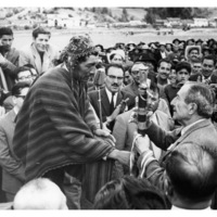 Pedro during his run for the presidency, receiving the <i>varayoc</i> or staff of office near Cuzco, ca. 1962